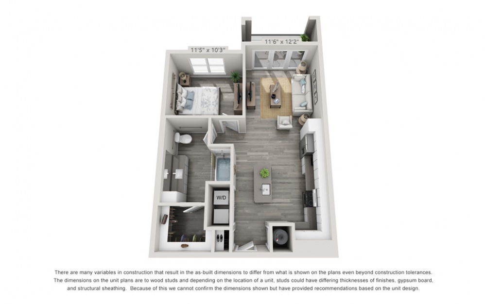 A1-HC - 1 bedroom floorplan layout with 1 bath and 728 square feet.
