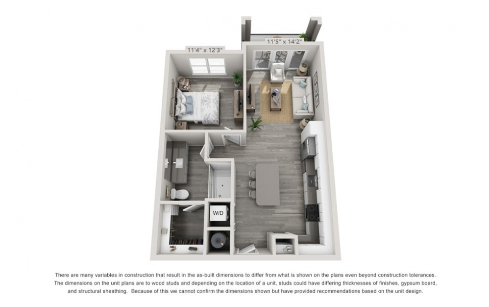 A1 - 1 bedroom floorplan layout with 1 bath and 726 square feet.