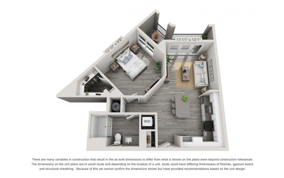 A3 - 1 bedroom floorplan layout with 1 bath and 767 square feet.