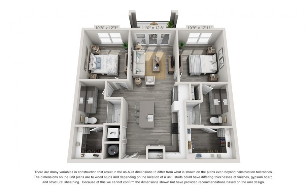 B1 - 2 bedroom floorplan layout with 2 baths and 998 square feet.