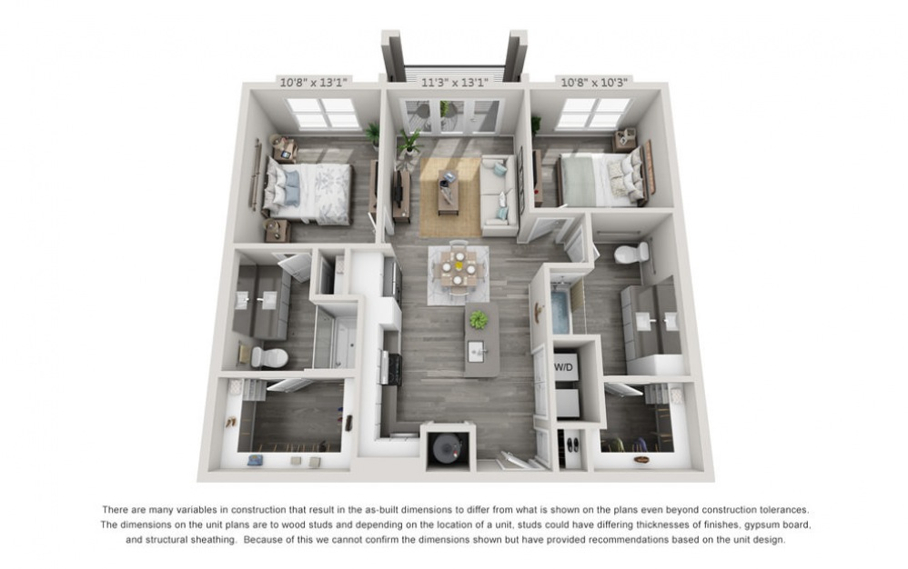 B1-HC - 2 bedroom floorplan layout with 2 baths and 1021 square feet.