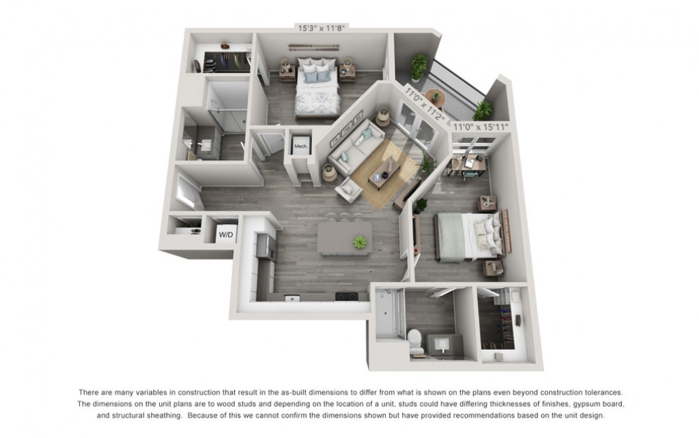 B2 - 2 bedroom floorplan layout with 2 baths and 1044 square feet.