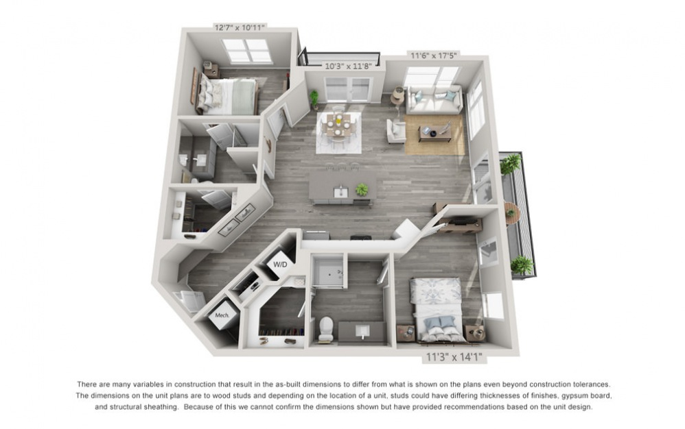 B4 - 2 bedroom floorplan layout with 2 baths and 1156 square feet.