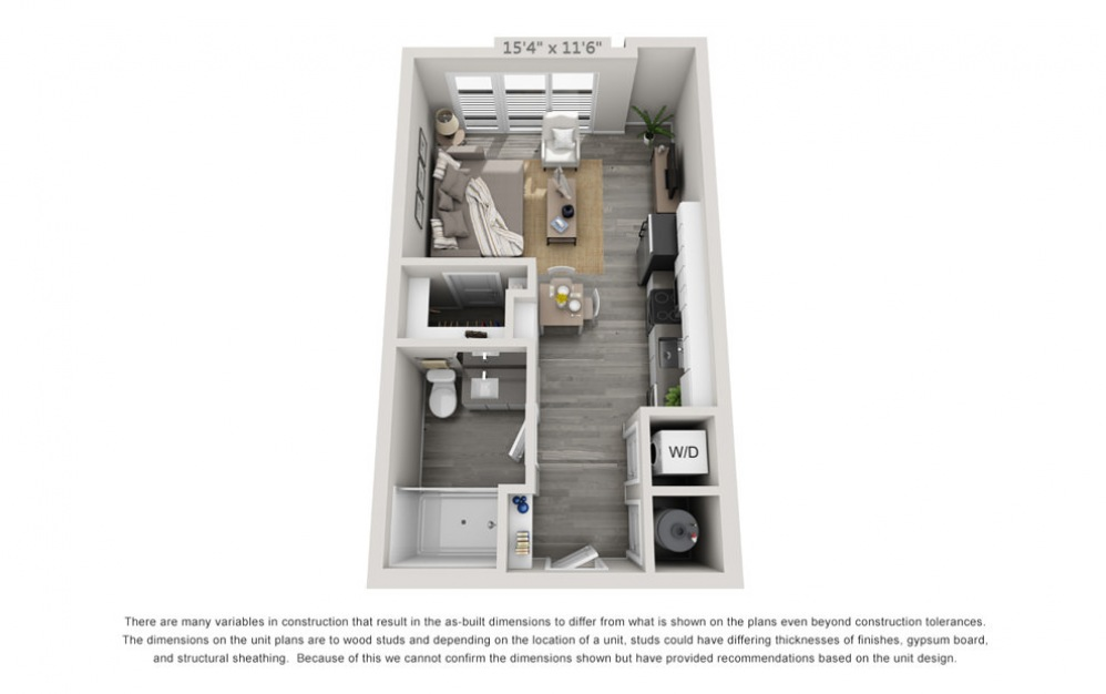 S1 - Studio floorplan layout with 1 bath and 472 square feet.