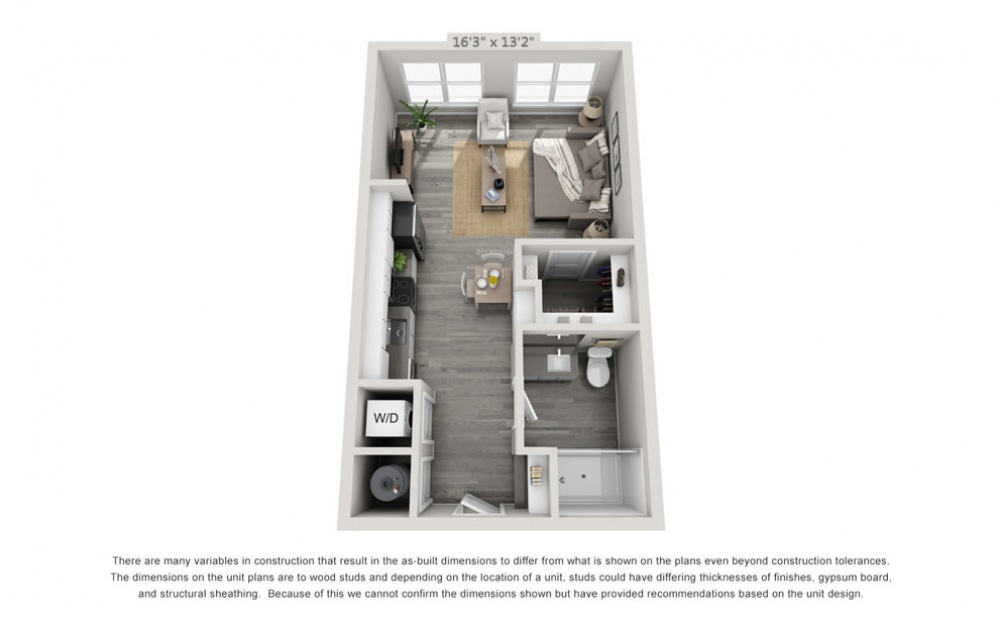 S2 - Studio floorplan layout with 1 bath and 510 square feet.