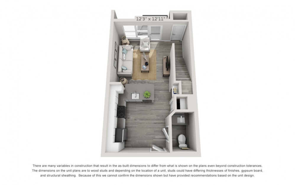 TH1 - 1 bedroom floorplan layout with 1.5 bath and 904 square feet. (Floor 1)