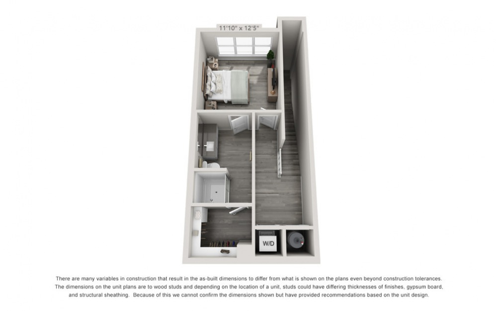 TH1 - 1 bedroom floorplan layout with 1.5 bath and 904 square feet. (Floor 2)