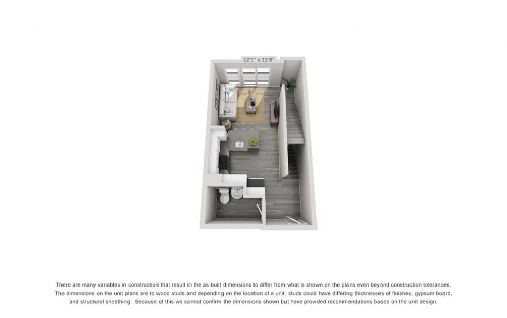 TH3 - 1 bedroom floorplan layout with 1.5 bath and 1024 square feet. (Floor 1)