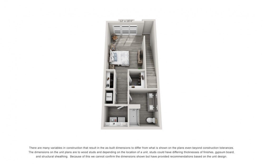 TH3 - 1 bedroom floorplan layout with 1.5 bath and 1024 square feet. (Floor 2)