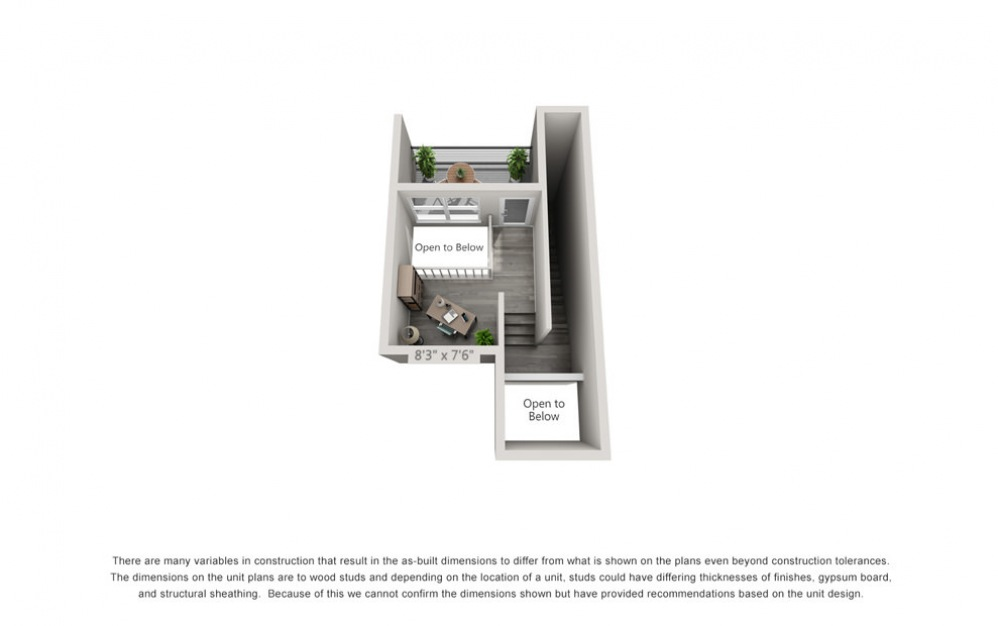 TH3 - 1 bedroom floorplan layout with 1.5 bath and 1024 square feet. (Floor 3)